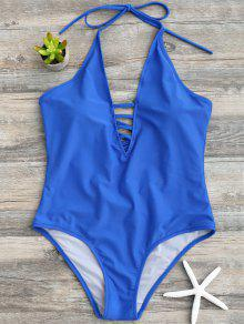 Strappy Halter One Piece Swimwear - Blue M