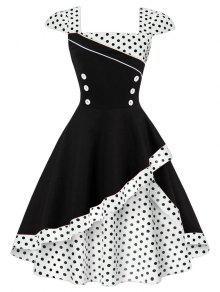 فستان البولكا نقطة كلاسيكي زر - أبيض Xl