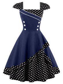 فستان البولكا نقطة كلاسيكي زر - الأرجواني الأزرق M