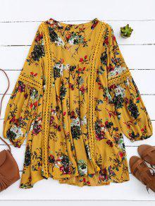 Robe Florale à Empiècement Ajouré Manches Lanternes - Jaune S