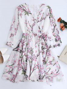 Vestido Fluido De Flores De Gasa Con Escote De Plegado Oblicuo - Blanco M