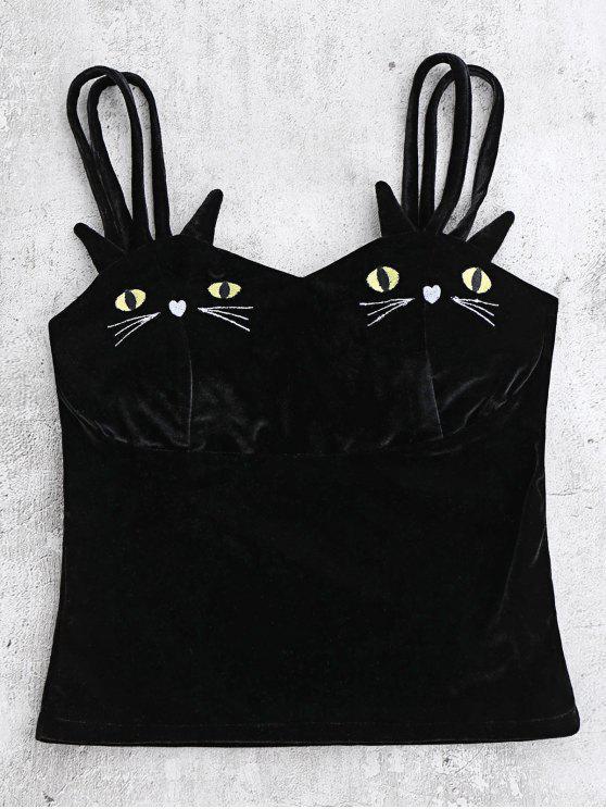 Gato terciopelo bordado Top - Negro L