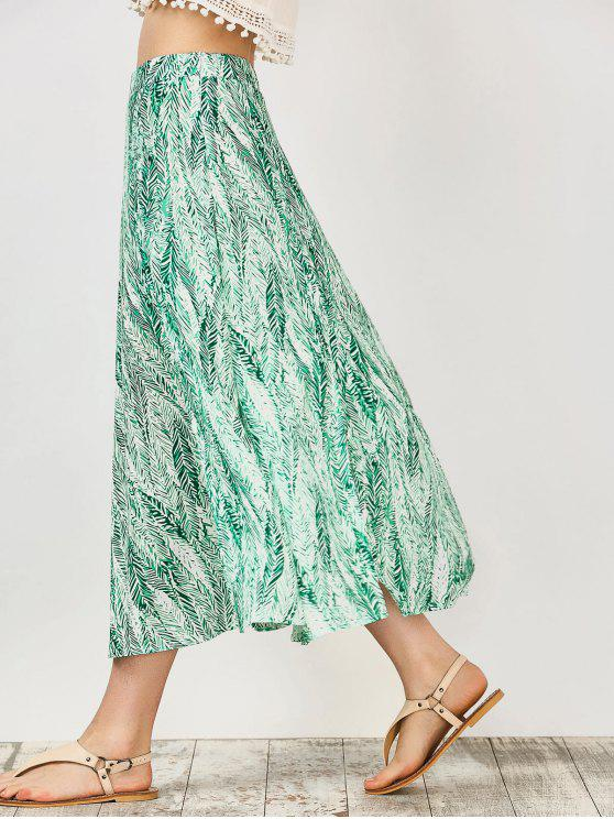affordable Leaf Print Slit Chiffon Midi Skirt - GREEN M