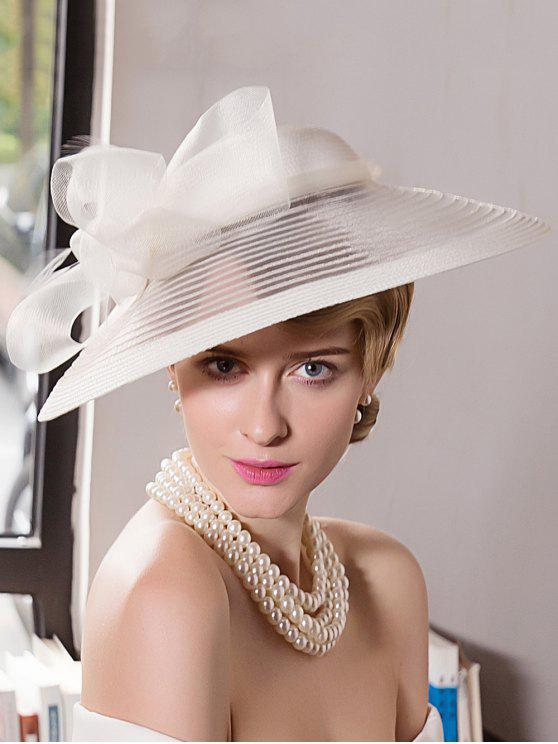 Wide Brim Organza Bowknot Cocktail Hat - Quase Branco