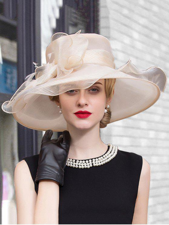 womens Wide Brim Feather Organza Bowknot Fedora Hat - CHAMPAGNE