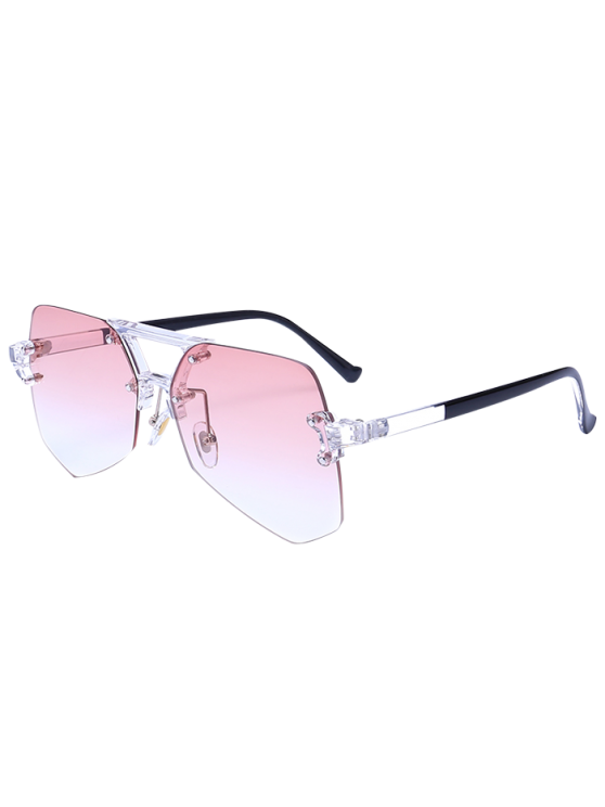 Rimless Ombre Transparent Geometric Sunglasses TRANSPARENT PINK ...