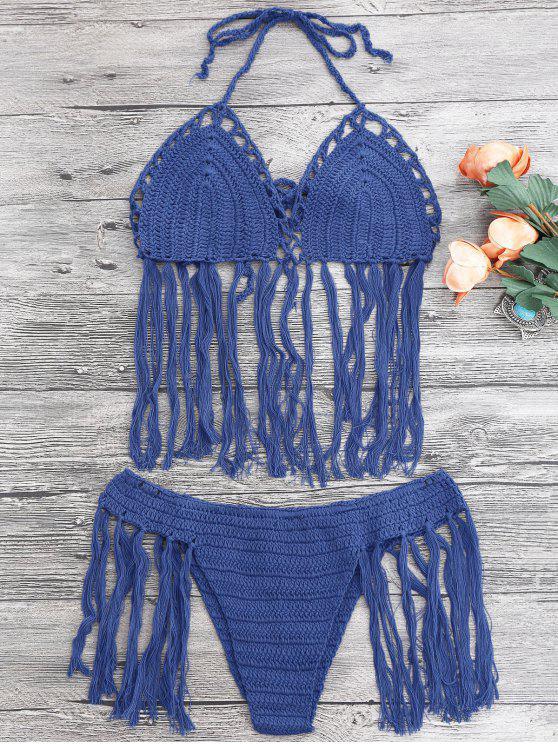 hot Tasselled Halter Crochet Bathing Suit - BLUE ONE SIZE