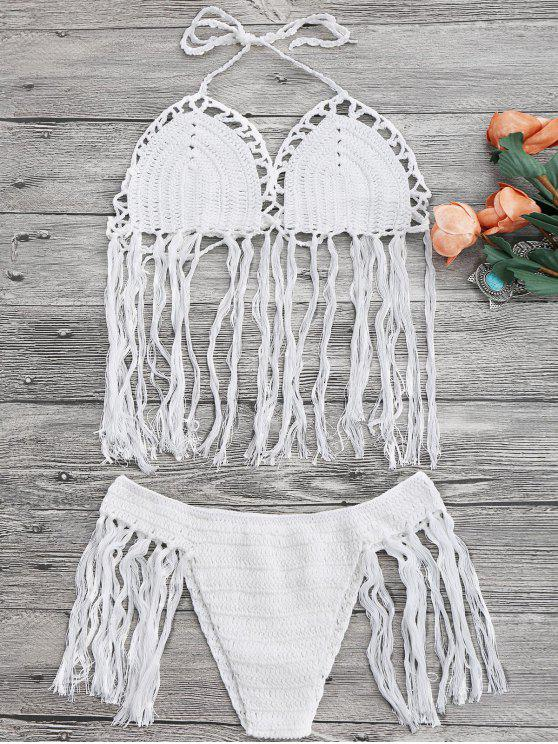 outfit Tasselled Halter Crochet Bathing Suit - WHITE ONE SIZE