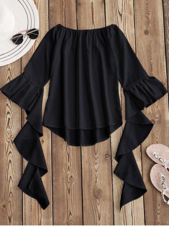 fancy Dramatic Bell Sleeve Off The Shoulder Top - BLACK XL