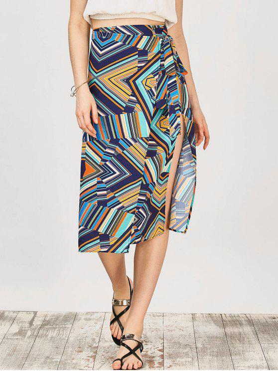 متعددة الشريط الشيفون ميدي التفاف تنورة - متعدد الألوان حجم واحد