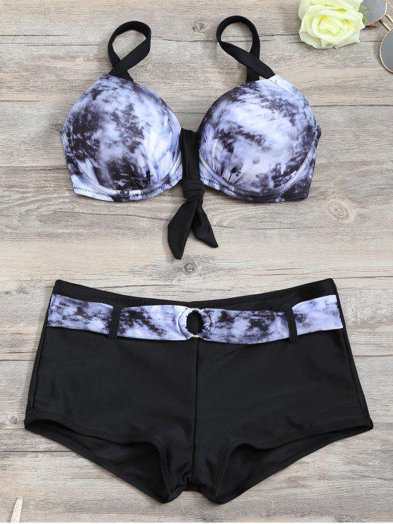 trendy Tie-Dyed Underwire Tied Bikini Bra with Boxers - BLACK S