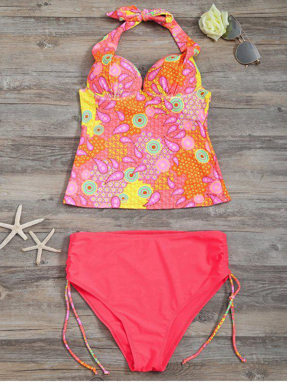affordable High Waisted Paisley Runched Tankini - FLUORESCENT PINK L