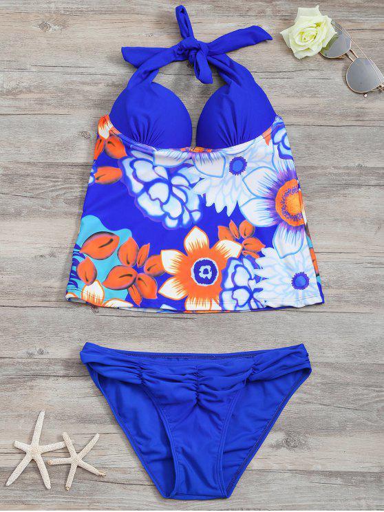 Conjunto de Tankini Top Com Aro Estampa Lisa e Floral - Azul S