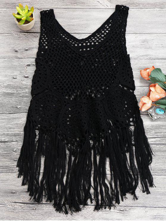 latest Tasselled Beach Crochet Cover Up Tank Top - BLACK ONE SIZE
