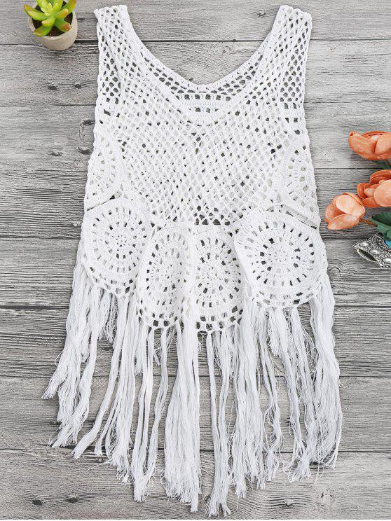 ca7af760ad 20% OFF] 2019 Tasselled Beach Crochet Cover Up Tank Top In WHITE | ZAFUL