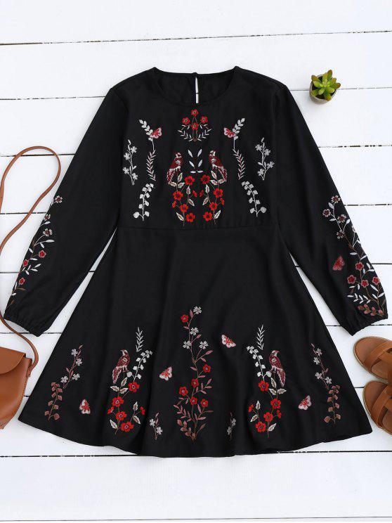 trendy Floral Embroidered Vintage A-Line Dress - BLACK M