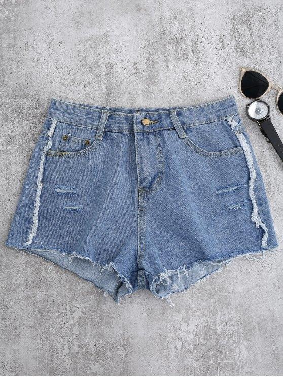 trendy Cutoffs Ripped Shorts - LIGHT BLUE S