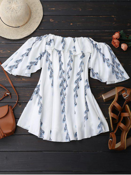 ladies Off Shoulder Butterfly Sleeve Ruffle Dress - WHITE M