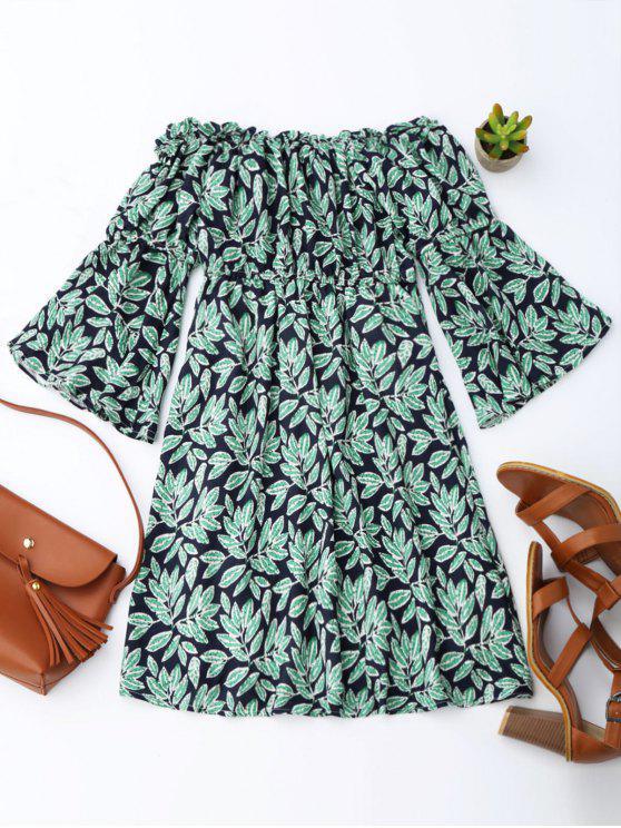 buy Leaf Print Flare Sleeve Off Shoulder Dress - PURPLISH BLUE XL