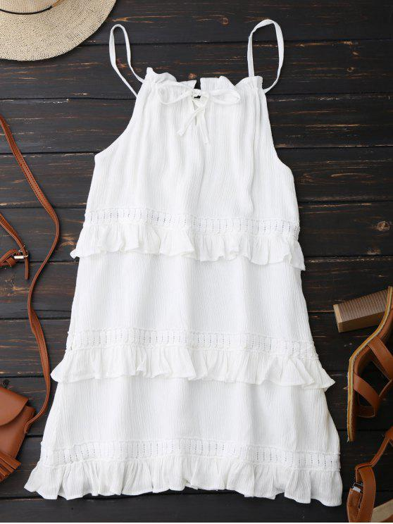 trendy Slip Ruffle Summer Dress - WHITE XL