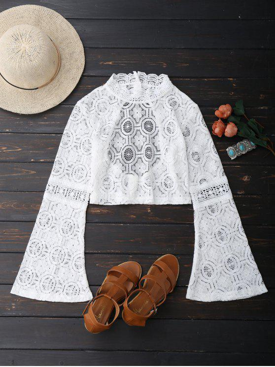 fancy Low Back Flare Sleeve Lace Crop Top - WHITE S