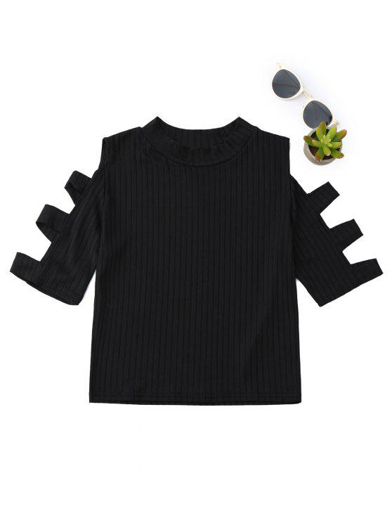 online Mock Neck Cut Out Sleeve Cropped Top - BLACK M