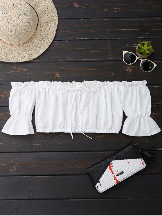 women Off Shoulder Drawstring Cropped Top - WHITE S