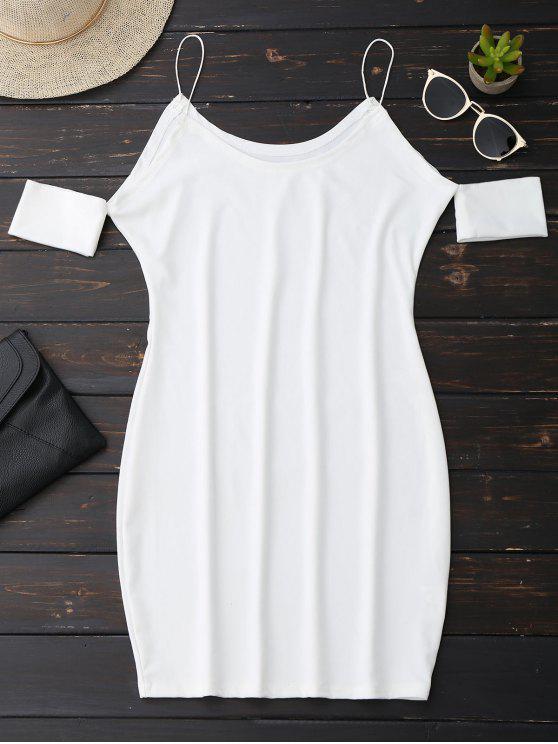 new Cold Shoulder Spaghetti Strap Dress - WHITE M