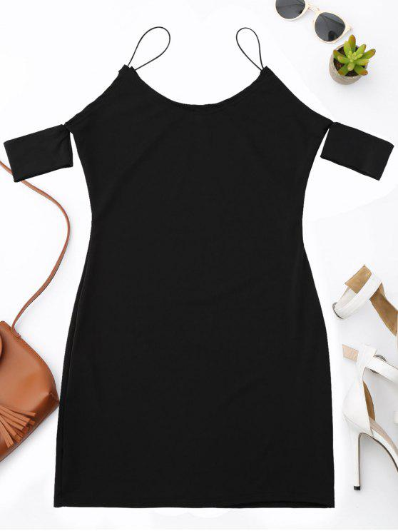 Vestido de tirantes de espagueti con hombros fríos - Negro L