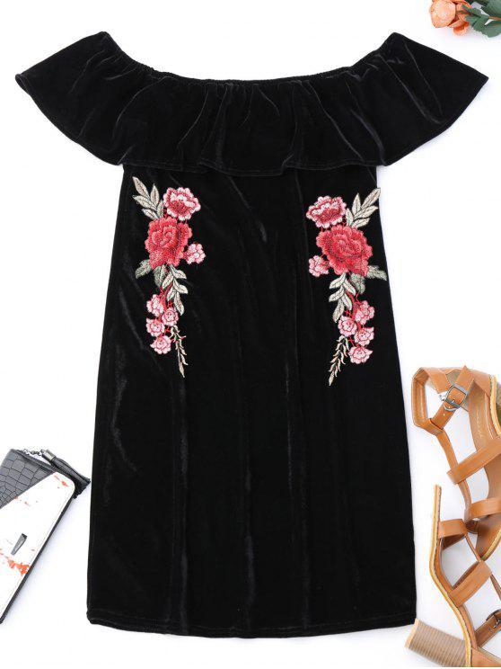 trendy Off Shoulder Ruffle Floral Bodycon Dress - BLACK S