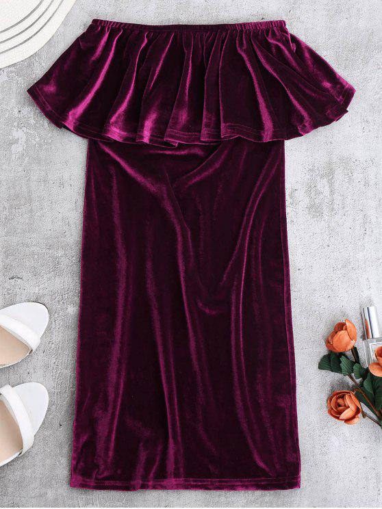 latest Ruffles Cruched Velvet Bodycon Dress - PURPLISH RED S