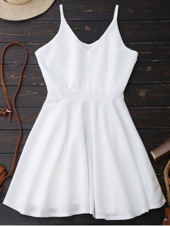 ladies Spaghetti Straps Skater Dress - WHITE S