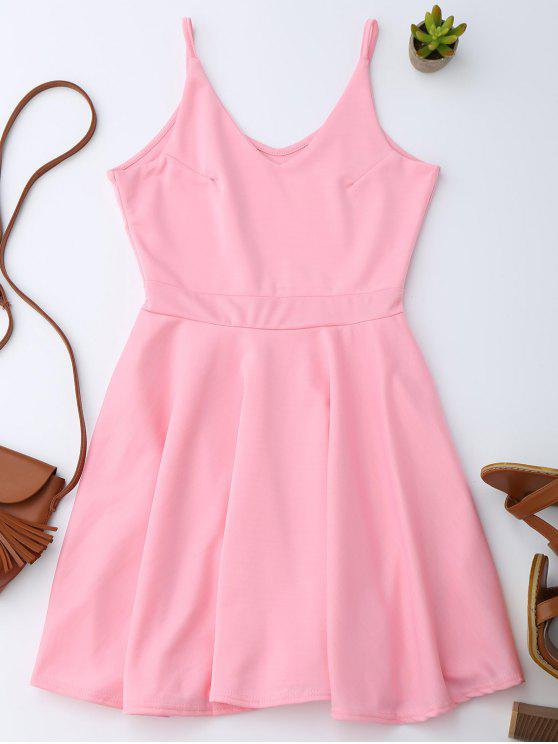 hot Spaghetti Straps Skater Dress - PINK L