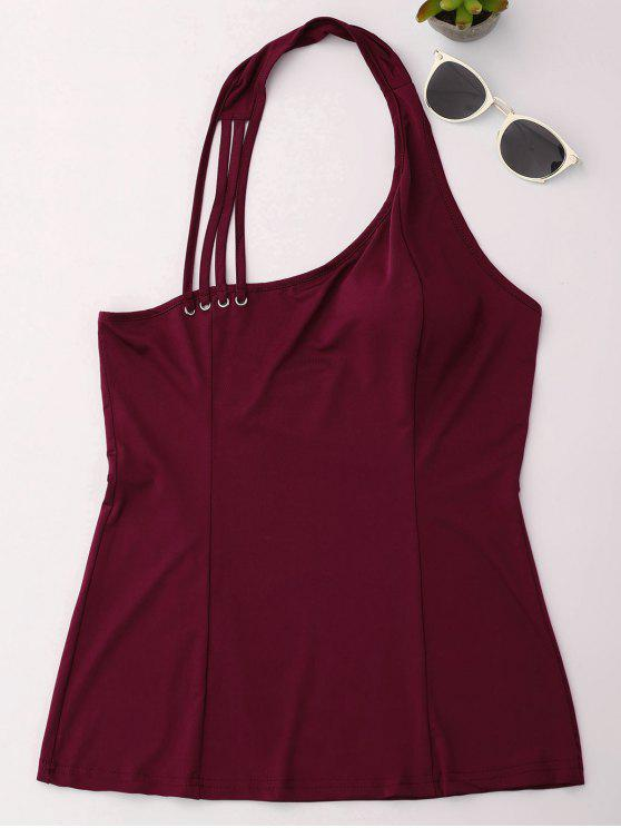 trendy Halter Strappy Tank Top - WINE RED XL