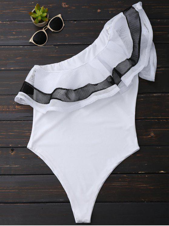 women One Shoulder Mesh Ruffle Bodysuit - WHITE S