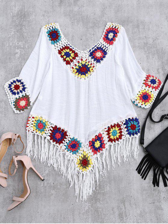 fashion Crochet V Neck Fringed Linen Top - WHITE ONE SIZE