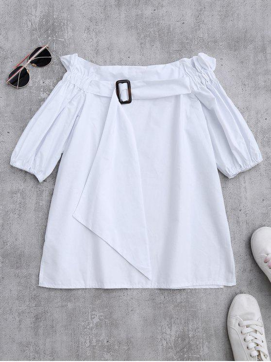 affordable Off Shoulder Ruffle Blouse With Belt - WHITE ONE SIZE