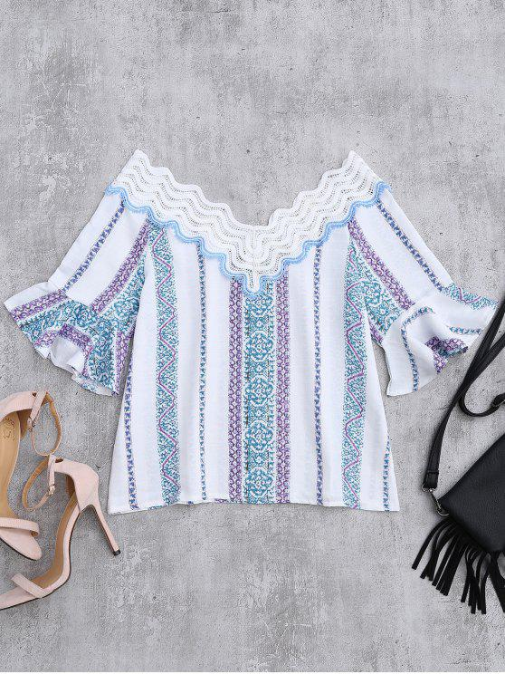 fancy Lace V Neck Flare Sleeve Print Top - WHITE M