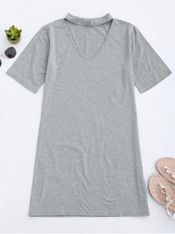 fancy Choker Shift T-Shirt Dress - GRAY L
