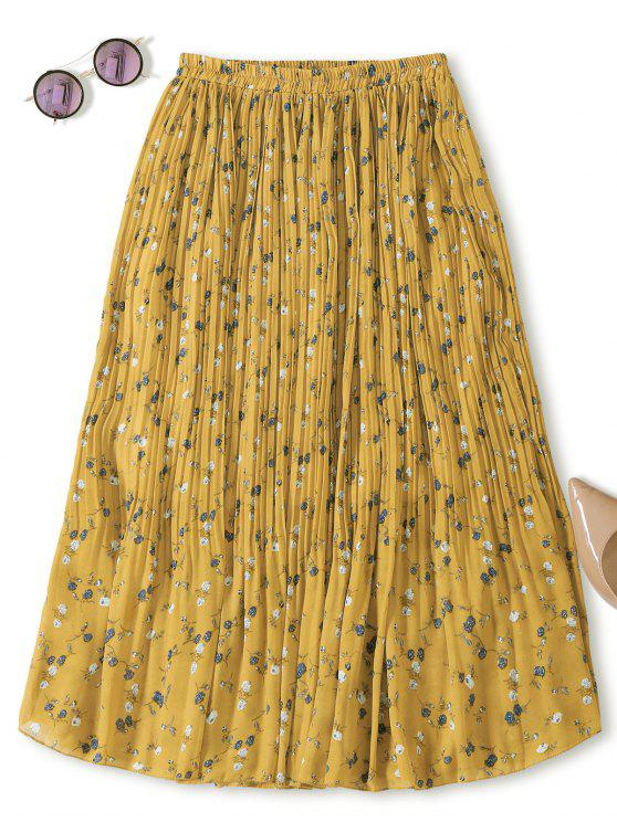 women's Midi Tiny Floral Pleated Skirt - YELLOW ONE SIZE
