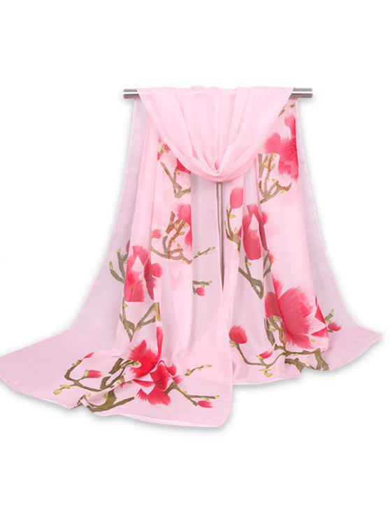 women's Chinoiserie Flowering Branch Printed Shawl Scarf - PINK
