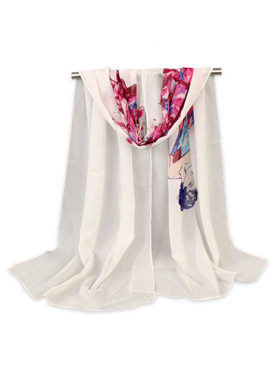 Schönheit Figur Gemalt gedruckt Gossamer Schal Schal - Weiß