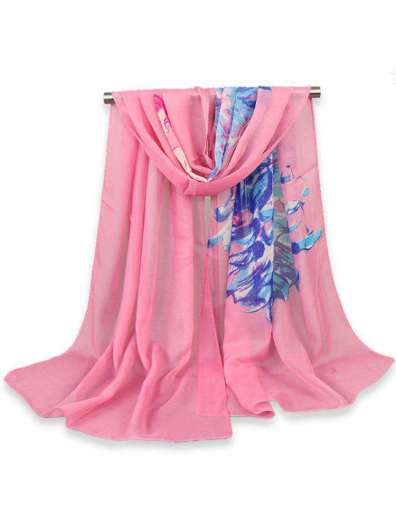 Foulard châle imprimé peint à la beauté - ROSE PÂLE