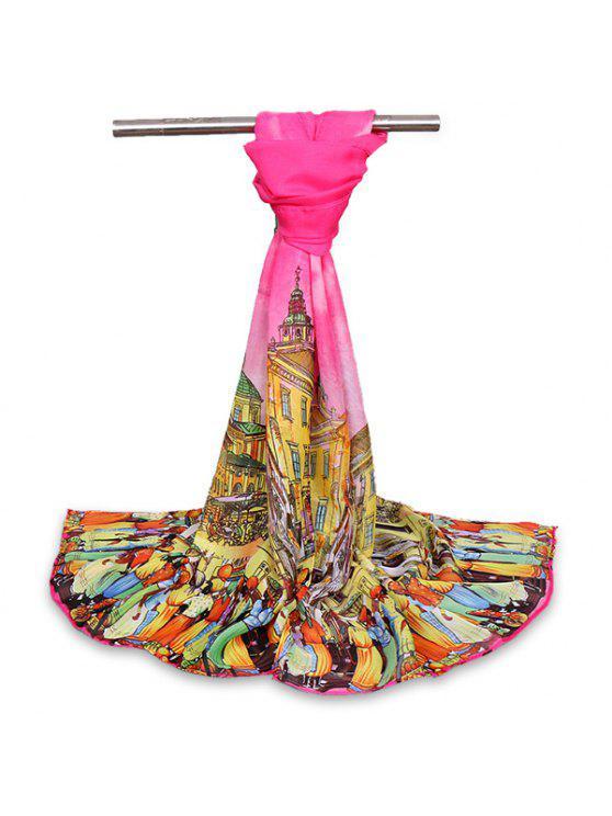 Bufanda del mantón del Gossamer de la vida de ciudad de la historieta - Rosa Roja