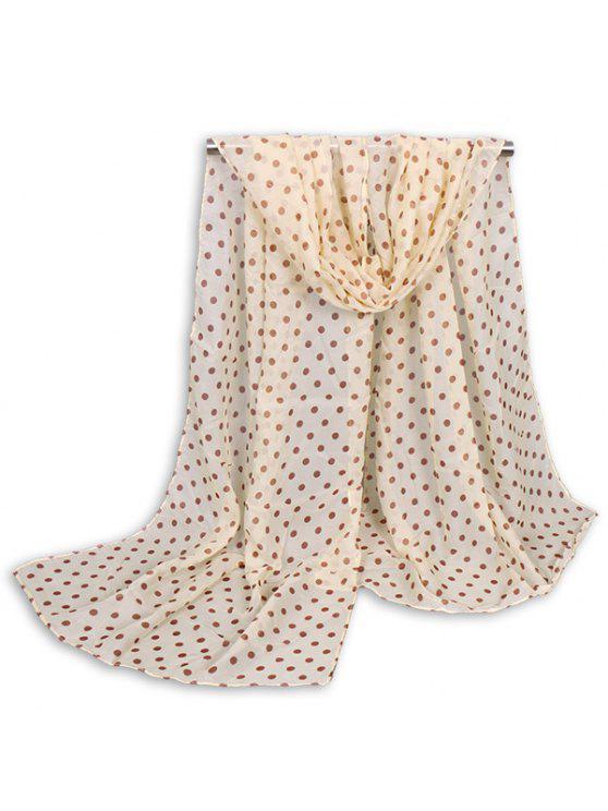 Bufanda del mantón del gossamer del punto de polca minúsculo - Beis