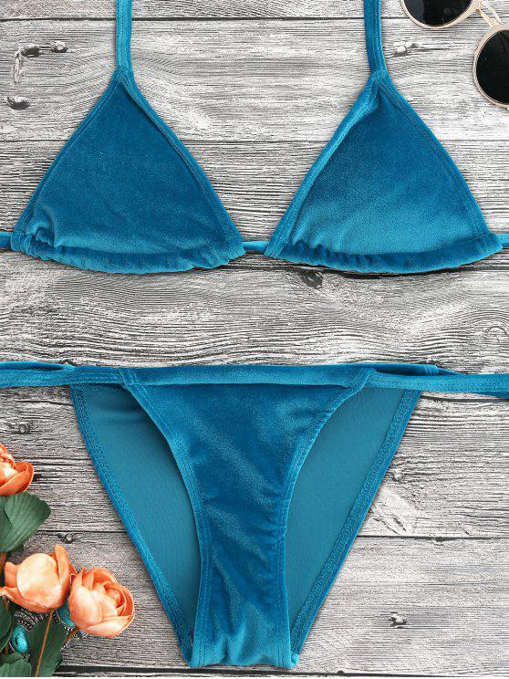 women's Halter Velvet Thong Bikini Set - PEACOCK BLUE L
