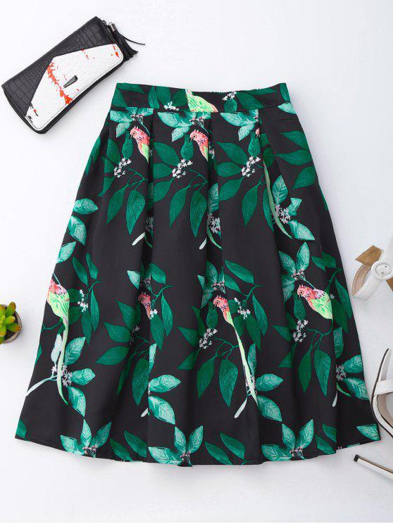 Falda de impresión de hojas y pájaros - Colormix Única Talla