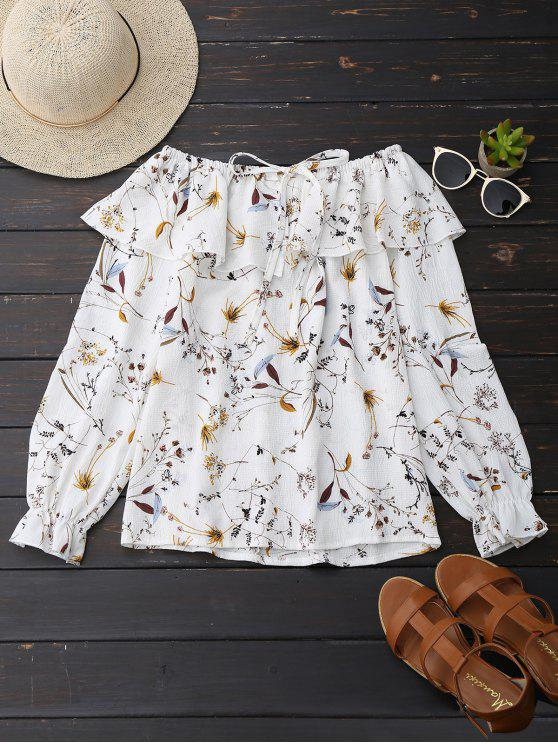 women's Off Shoulder Ruffle Drawstring Floral Blouse - WHITE L