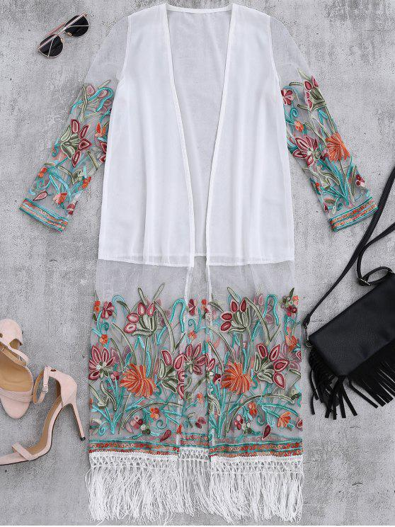 womens Floral Embroidered Mesh Fringed Dust Coat - WHITE ONE SIZE