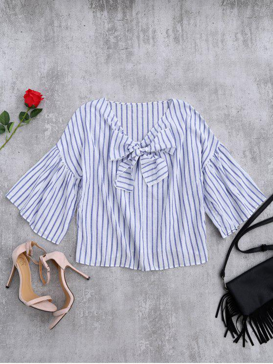 womens Striped Flare Sleeve Knot Front Top - BLUE STRIPE ONE SIZE